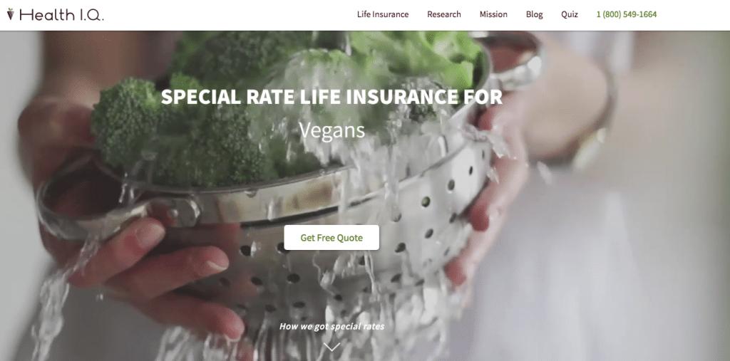Health IQ vegans. Seguro de vida veganos