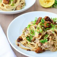 Espaguetis con carbonara vegetal