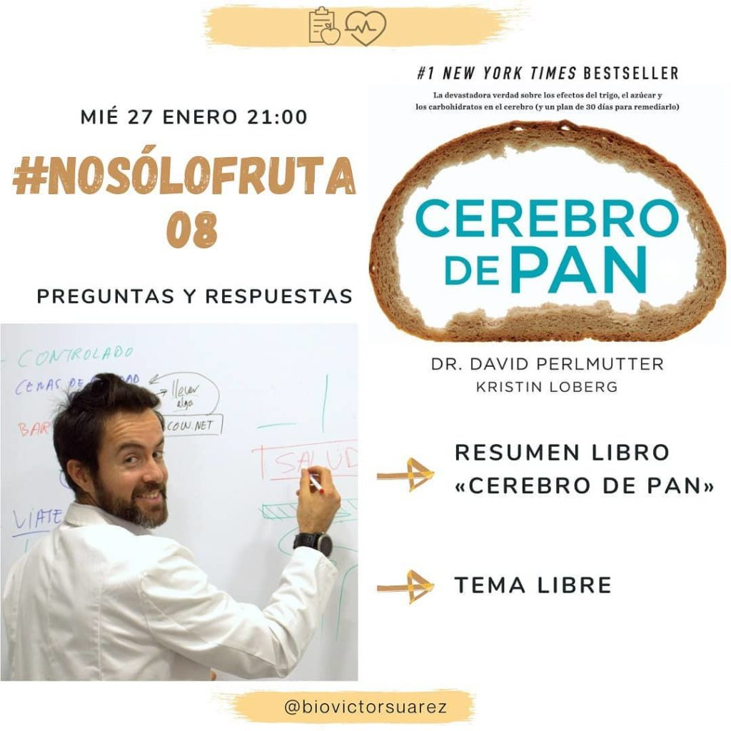 """NoSoloFruta08 este viernes a las 21:00 dónde comentaré el controvertido libro """"Cerebro de pan""""."""